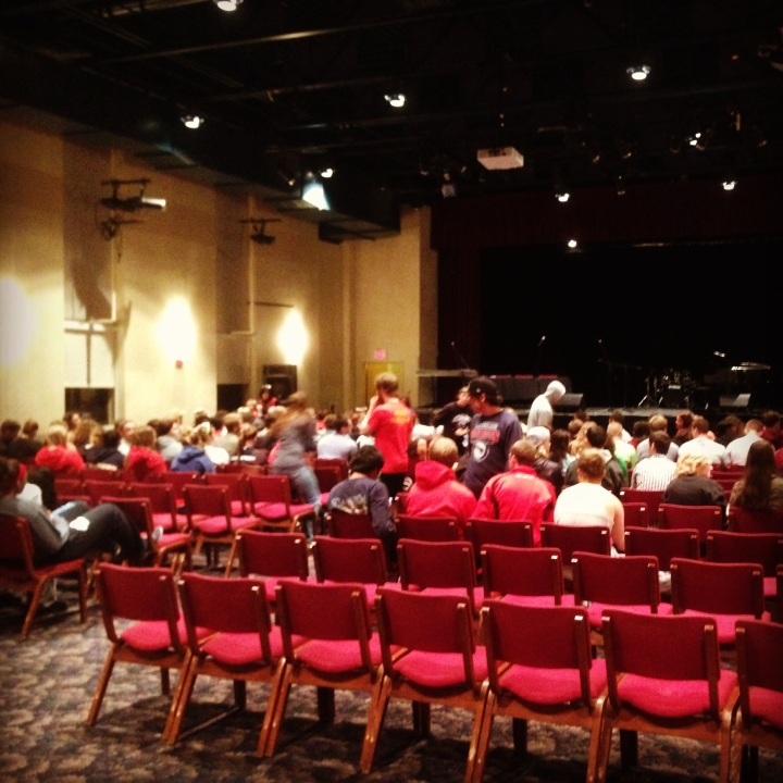 The theatre at WJU filling up before the show.